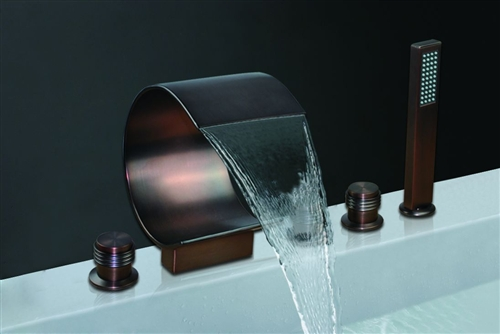 Fontana Deck Mounted Oil Rubbed Bronze Bathroom Waterfall Faucet With Triple Handles
