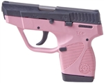 Taurus 738 Semi-Auto Pistol 1738039BSSP 380 ACP 3.3 in Pink Polymer Grip Black Finish 6 Rd