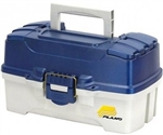PLANO 2 TRAY TACKLE BOX W/DUAL ACCESS BLUE MET/OFF WHITE 620206