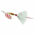 MEPPS AGLIA IN-LINE SPINNER 1/4 OZ DRESSED TREBLE HOOK SILVER/RED DOT BL/WHITE TAIL B3STSRD-W