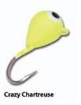 Eco Pro TUNGSTEN TEAR DROP ICE JIG Crazy Chartreuse 1.6 Grams #14 Hook
