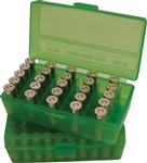 MTM FLIPTOP AMMO BOX .45ACP/10MM/.40S&W/.41 AE CLEAR GREEN 50 ROUND P50-45-16