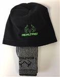 REALTREE HAT/SOCK COMBO, BLACK/GREEN, LARGE - T9788L