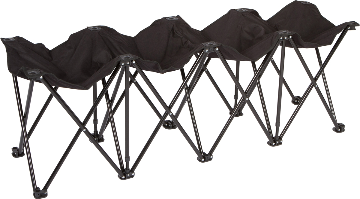 Black, No Back Trademark Innovations Portable 8 Seater Sports Bench Sits 8 People by