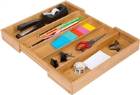 Expandable Bamboo Utility, Flatware, Office Beauty Products Organizer by Trademark Innovations