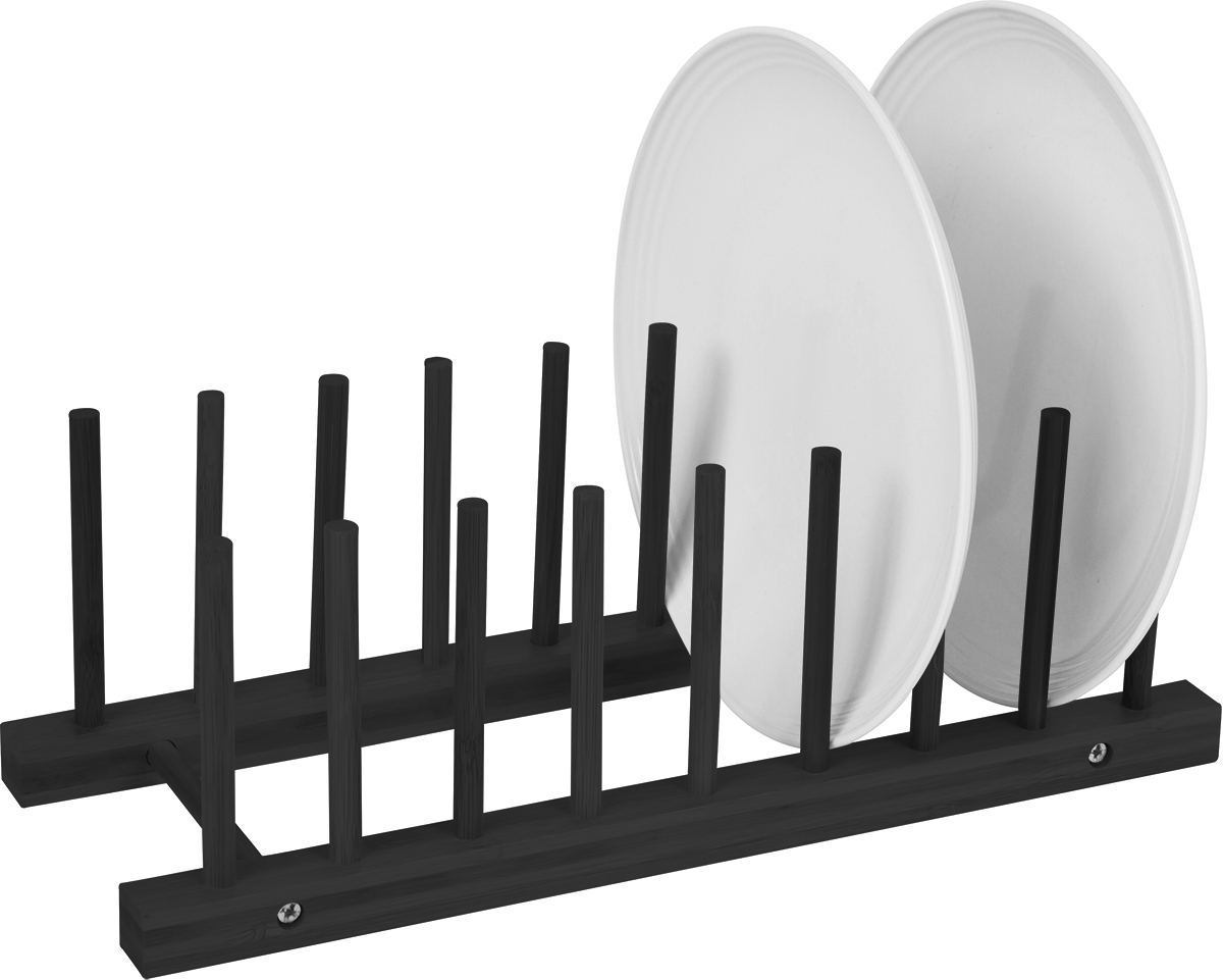 Plate Holder Black Finish For 8 Plates Made From Natural Bamboo by Trademark Innovations  sc 1 st  Trademark Innovations & Plate Holder - Black Finish - For 8 Plates Made From Natural Bamboo ...