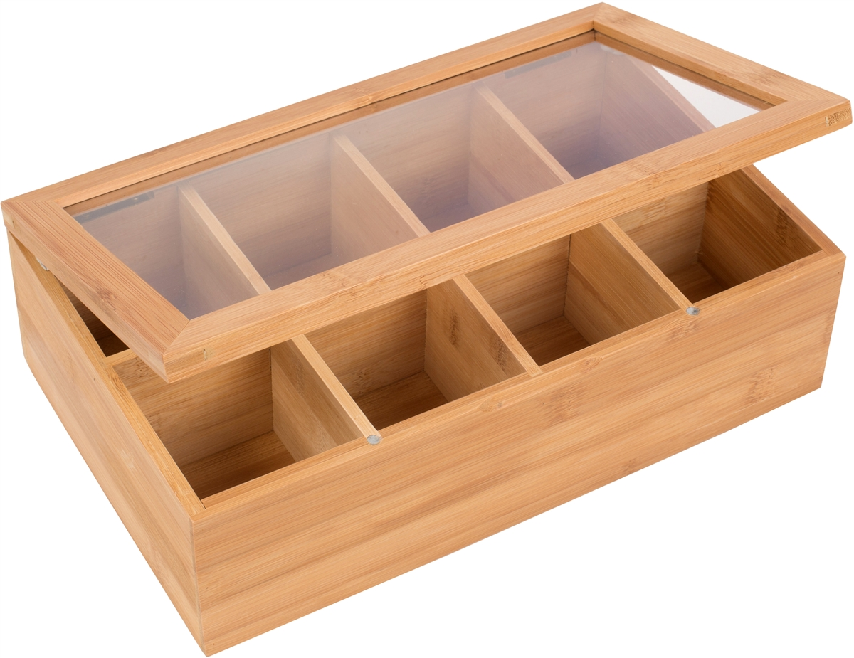 Bamboo 8 Section Tea Storage Box With Clear Lid By Trademark Innovations