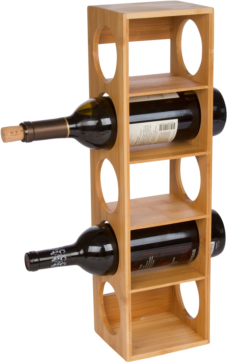 2b030b5777 Bamboo Stackable Tower 5 Bottle Wine Holder by Trademark ...