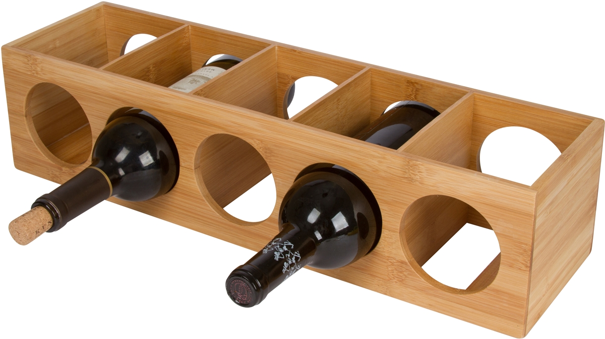 bamboo stackable tower  bottle wine holder by trademark innovations -