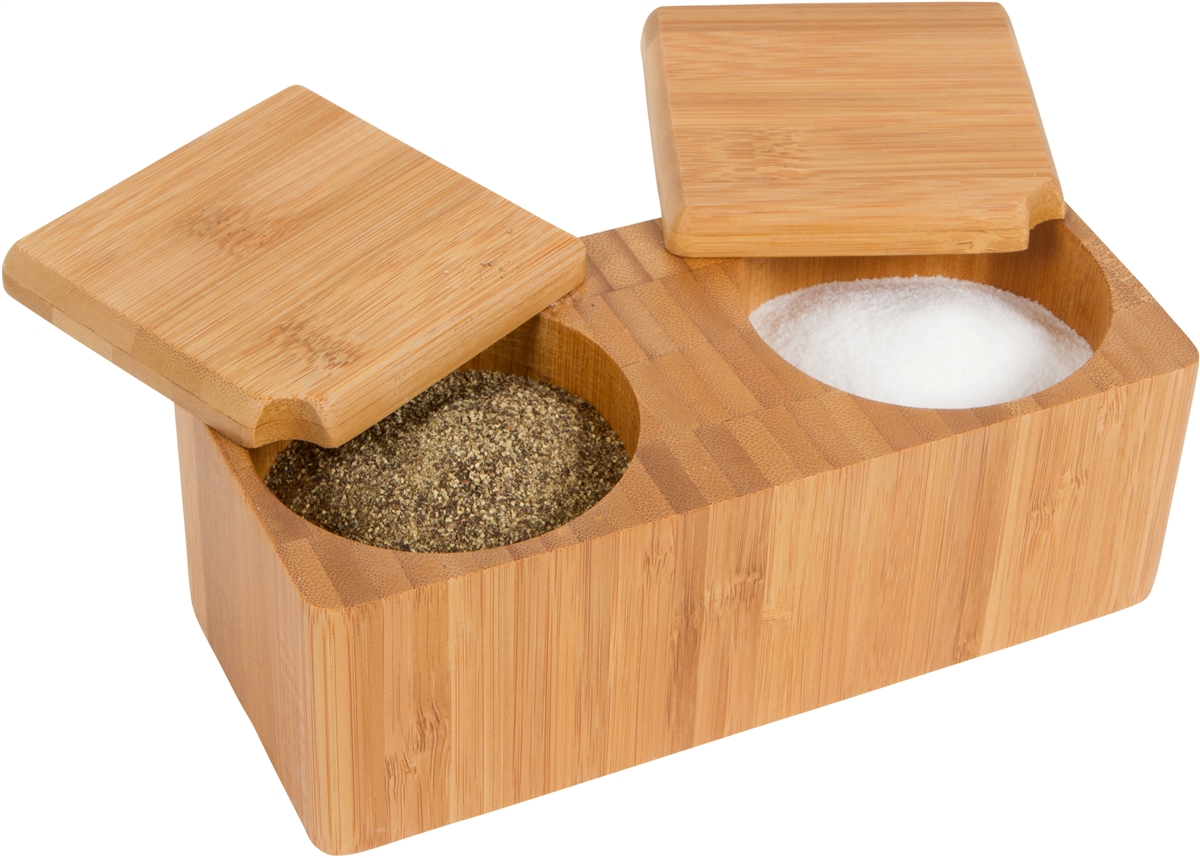 Bamboo Salt And Pepper Box Kitchen Accessory With Sliding Tops