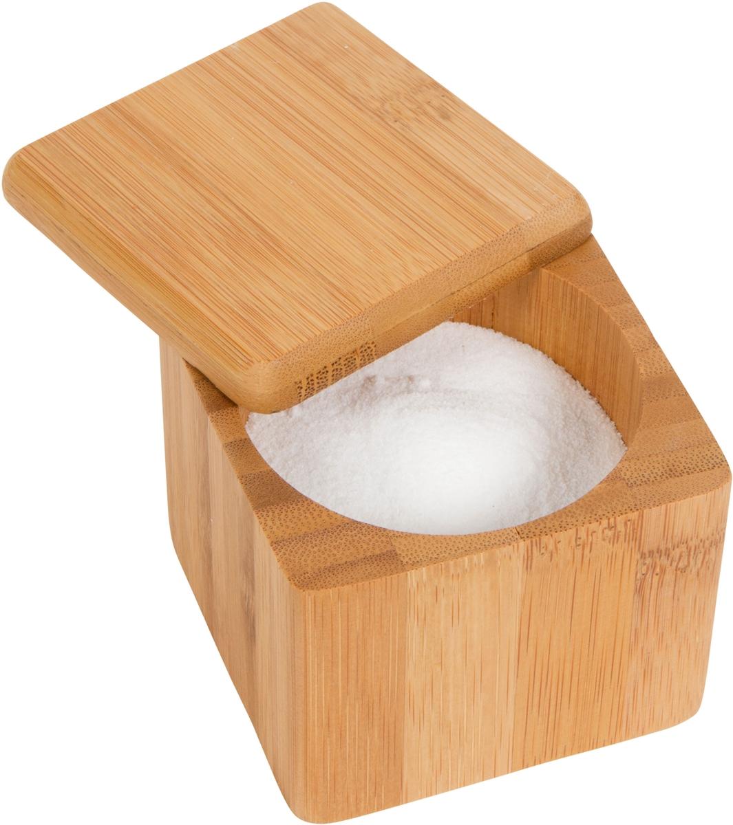 Bamboo Salt Box Kitchen Accessory Hold Your Salt