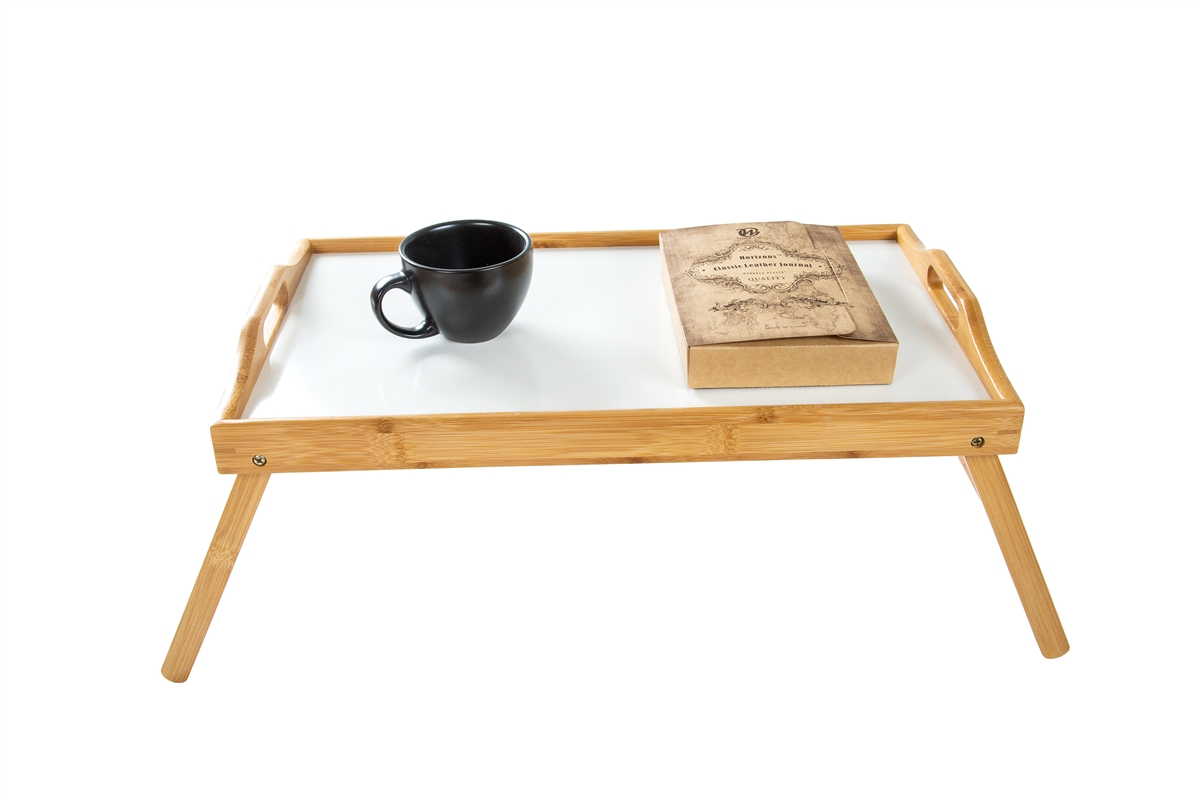 Bamboo Folding Bed Tray Laptop Tray With Handles by Trademark