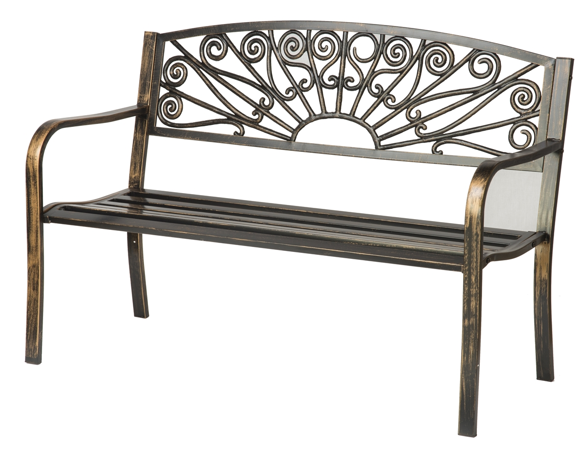 Amazing Bronze Coated Steel Garden Bench By Trademark Innovations Pabps2019 Chair Design Images Pabps2019Com