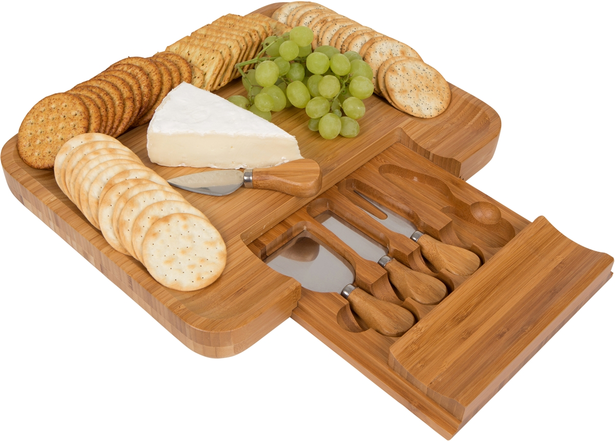 Bamboo cheese serving tray with hide away utensil set by for Innovative kitchen utensils