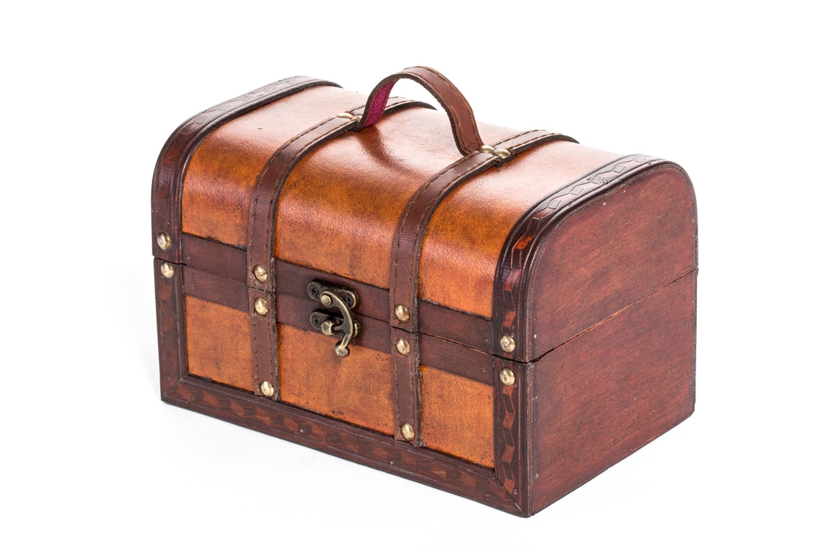 Small wood and leather decorative chest by trademark