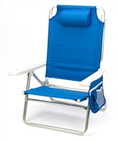 5-Position Aluminum Frame Beach Chair with Pillow by Trademark Innovations (Blue)