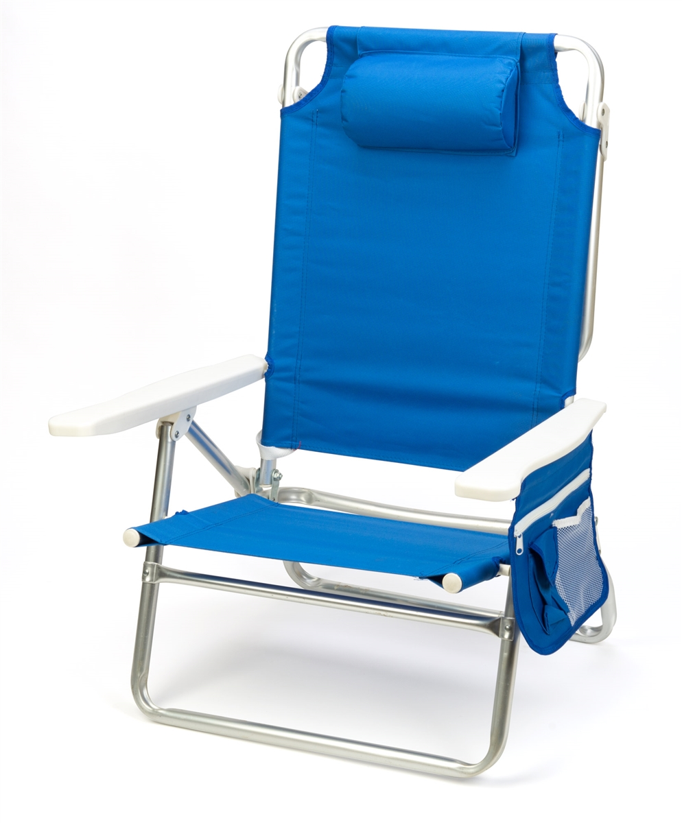 5 Position Aluminum Frame Beach Chair With Pillow By Trademark Innovations ( Blue)