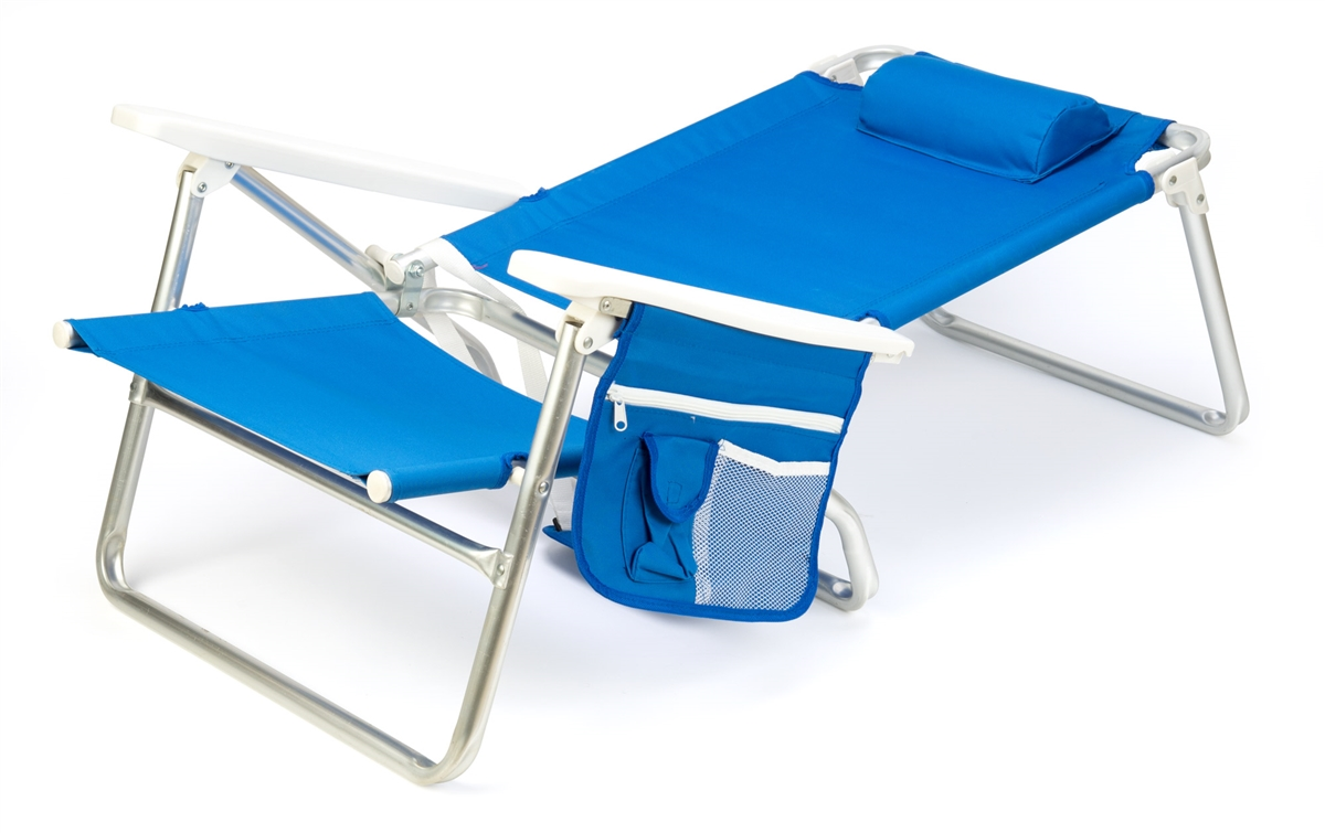5 Position Aluminum Frame Beach Chair With Pillow By Trademark Innovations Blue