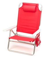 5-Position Aluminum Frame Beach Chair with Pillow by Trademark Innovations (Red)