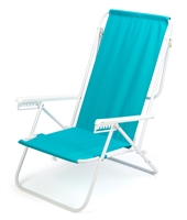 7-Position High Back Steel Tube Beach Chair by Trademark Innovations (Light Blue)