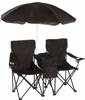 Double Folding Camp Beach Chair with Removable Umbrella Cooler by Trademark Innovations (Black)