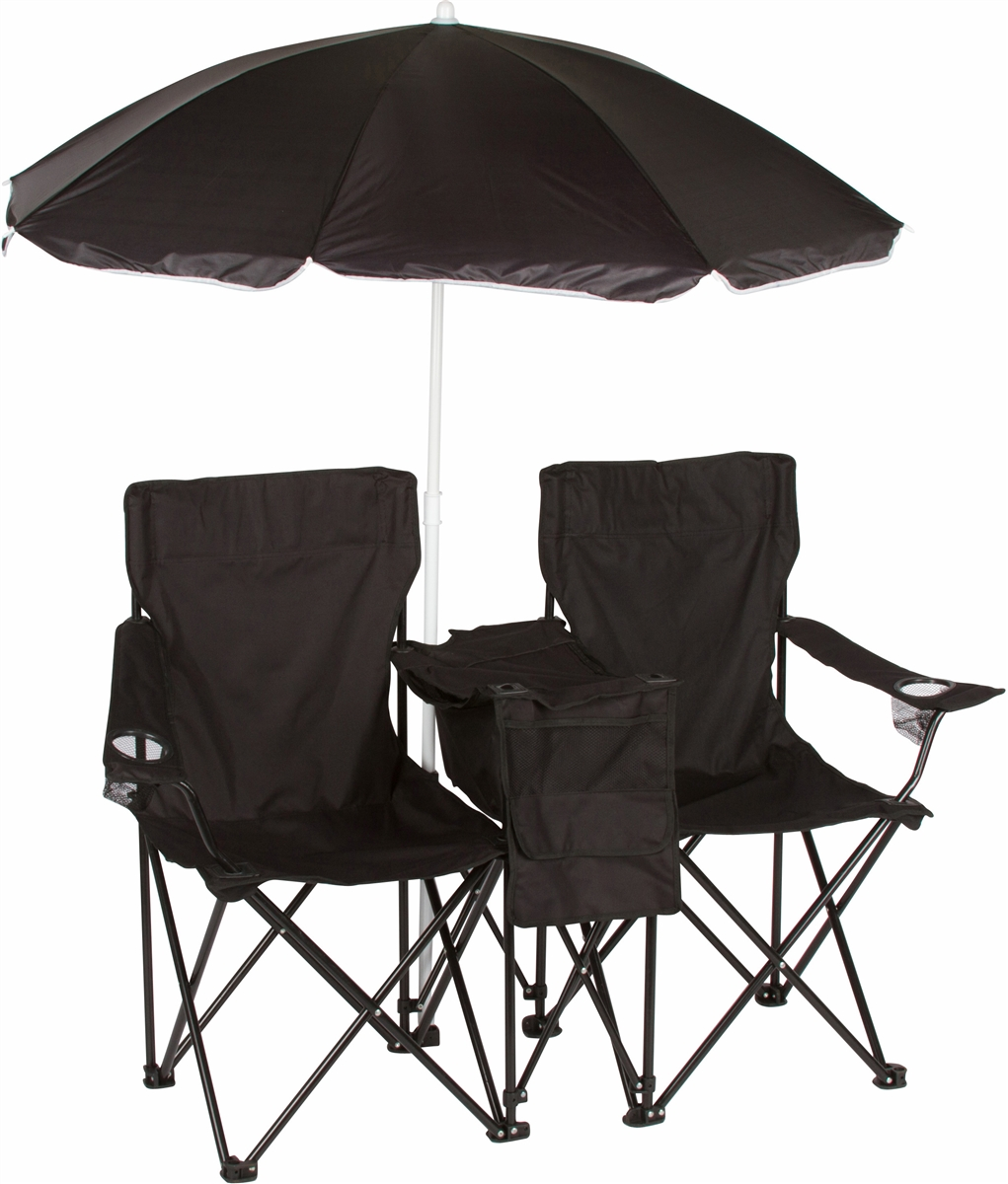 Double Folding Camp And Beach Chair With Removable Umbrella And Cooler By Trademark Innovations Black
