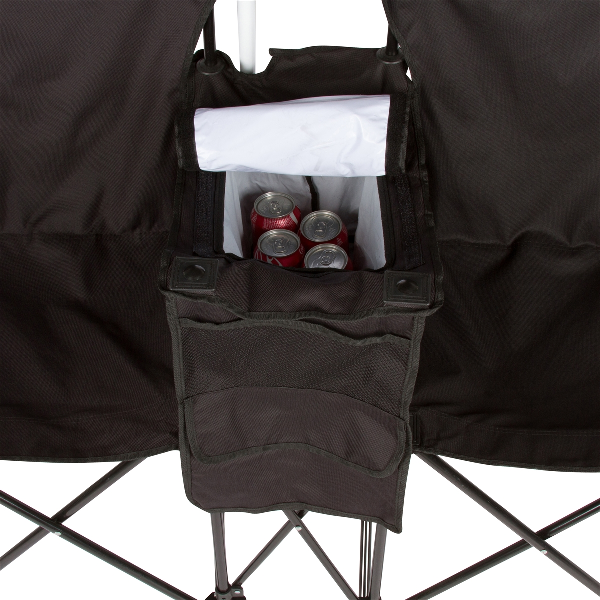 Beach chair and umbrella black and white - Double Folding Camp And Beach Chair With Removable Umbrella And Cooler By Trademark Innovations Black