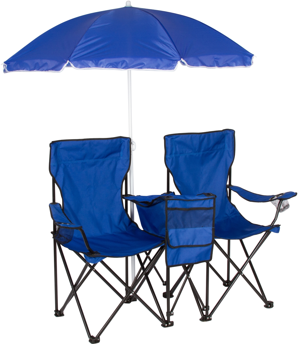 Camping chairs with umbrella - Double Folding Camp And Beach Chair With Removable Umbrella And Cooler By Trademark Innovations Blue