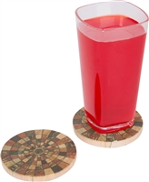 "Set of 4, 4"" Diameter Sandstone  Mosaic Tile Design Coasters by Trademark Innovations"