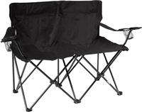 "Loveseat Style Double Camp Chair with Steel Frame by Trademark Innovations (Black, 31.5""H)"