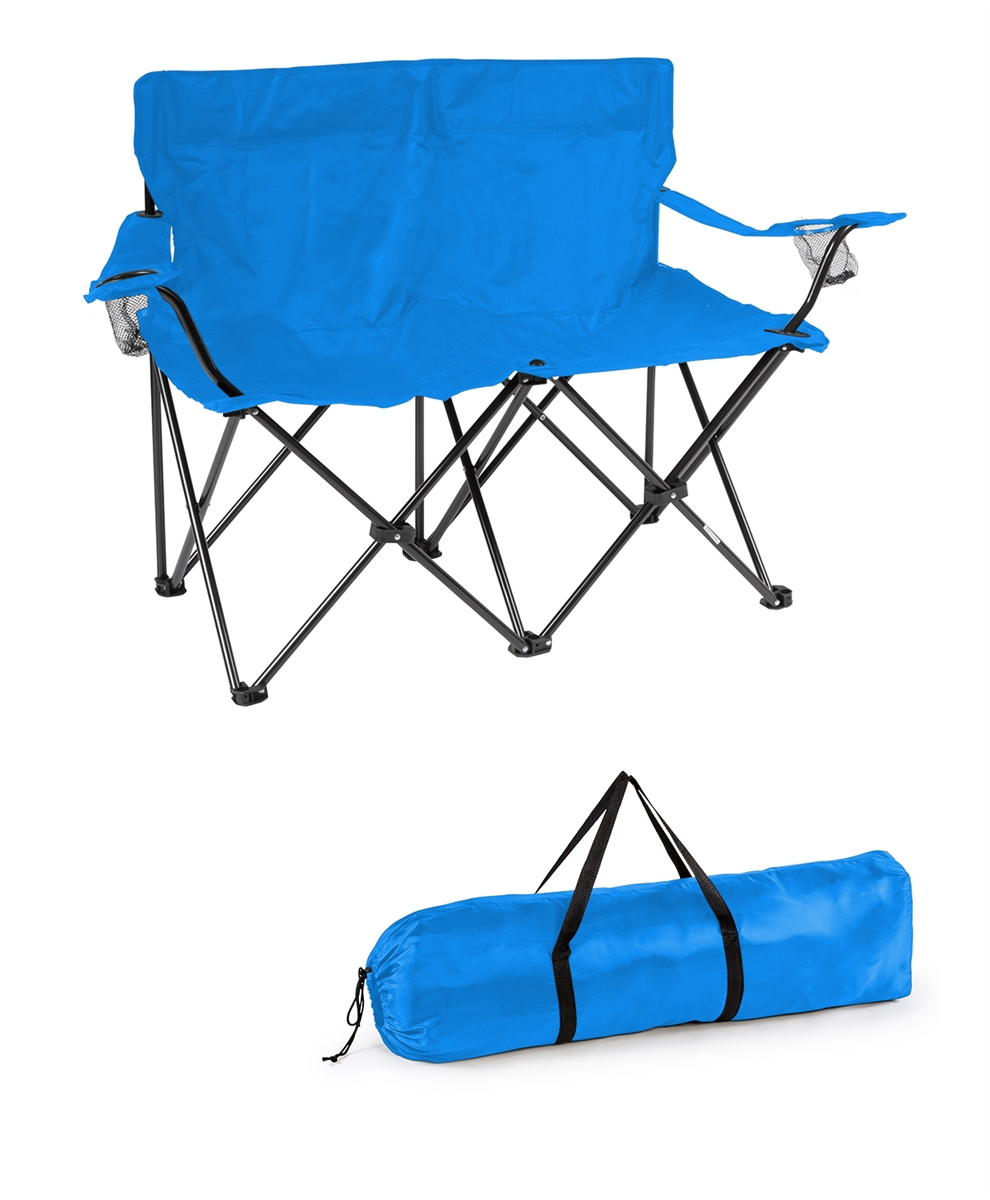 Loveseat Style Double Camp Chair With Steel Frame By Trademark Innovations Blue 31 5 H