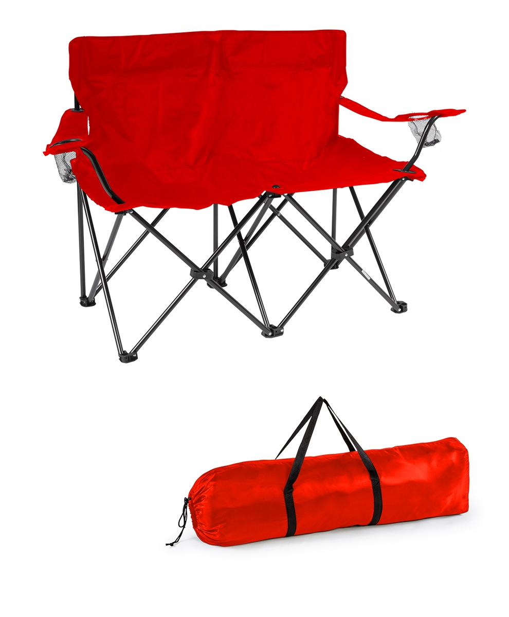 Miraculous Loveseat Style Double Camp Chair With Steel Frame By Trademark Innovations Red 31 5H Unemploymentrelief Wooden Chair Designs For Living Room Unemploymentrelieforg