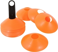 "2"" Plastic Disc Cone 24 Pack Orange with Carrier- Sports Training Gear"