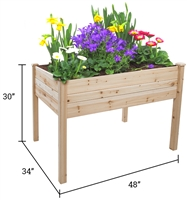 "Raised Fir Wood Garden Planter 48""L x 34""W x 30""H Tool Free Assembly By Trademark Innovations"