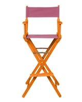 Director's Chair Bar Height Wood Fabric Color Choices By Trademark Innovations (Honey Wood with Pink)