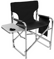 "Aluminum Canvas Folding Director's Chair with Side Table by Trademark Innovations (Black, 31.5""H)"