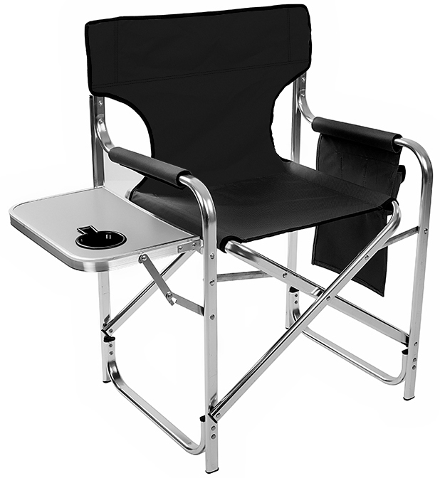 Aluminum And Canvas Folding Directors Chair With Side Table By
