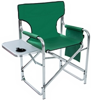 "Aluminum Canvas Folding Director's Chair with Side Table by Trademark Innovations (Green, 31.5""H)"