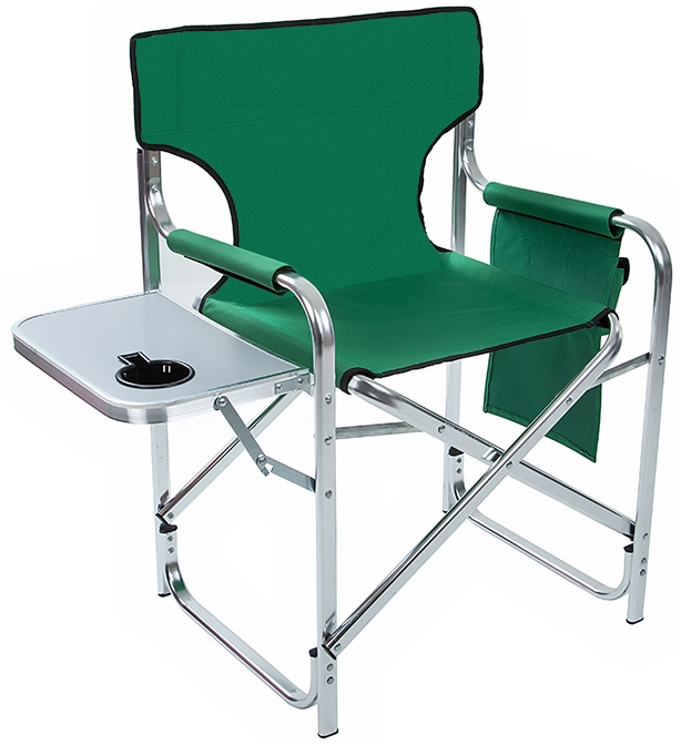 Folding Directors Chair With Side Table.Aluminum And Canvas Folding Director S Chair With Side Table By Trademark Innovations Green 31 5 H
