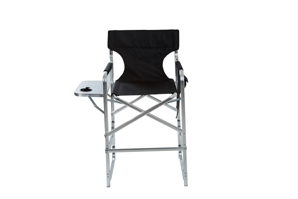Aluminum Frame Tall Metal Directoru0027s Chair With Side Table By Trademark  Innovations (Black)