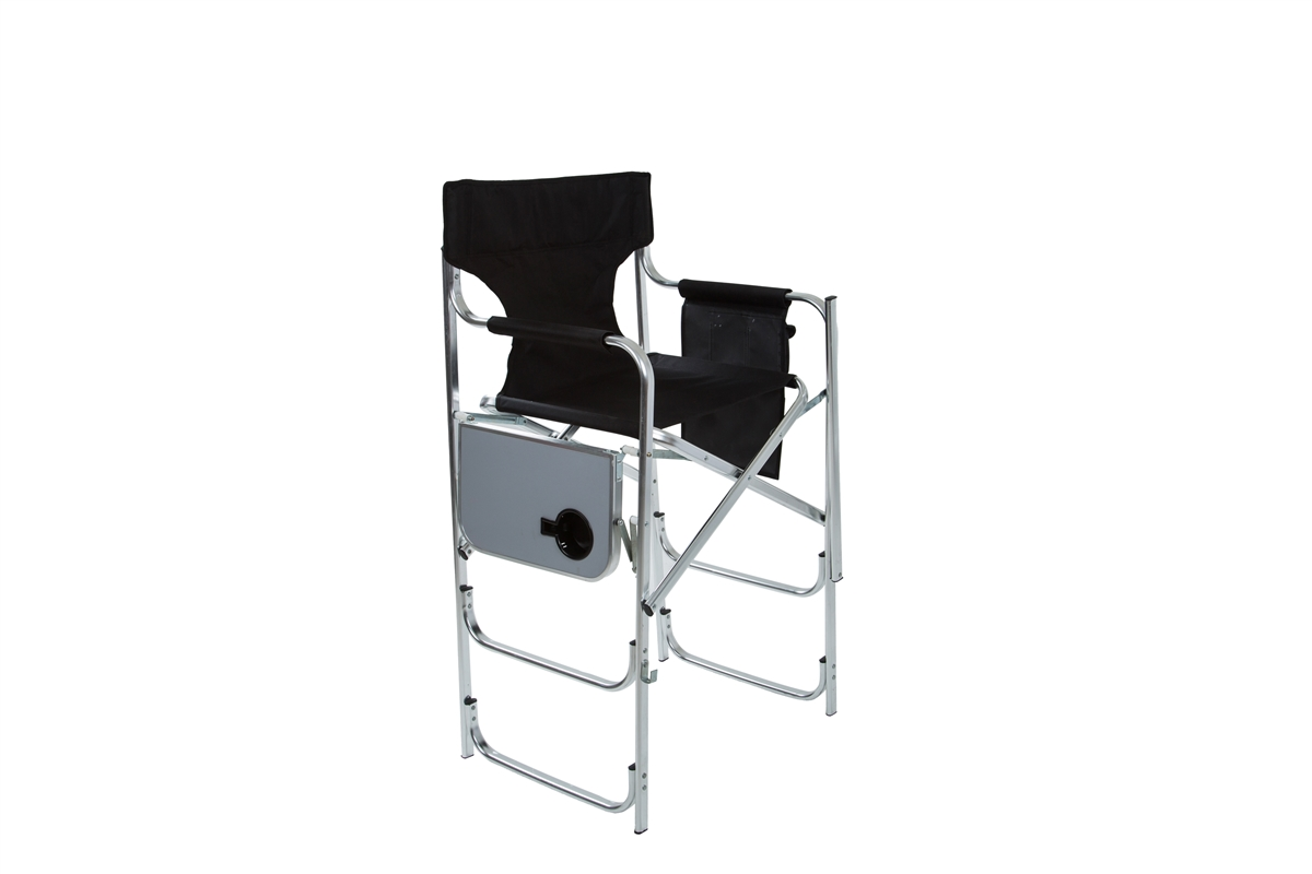 aluminum frame tall metal chair with side table by trademark innovations black