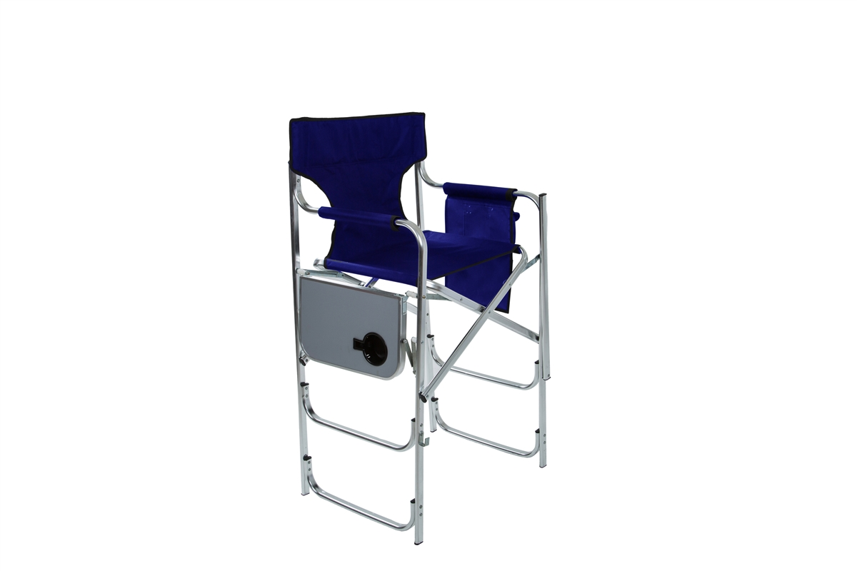 Aluminum Frame Tall Metal Directoru0027s Chair With Side Table By Trademark  Innovations (Blue)