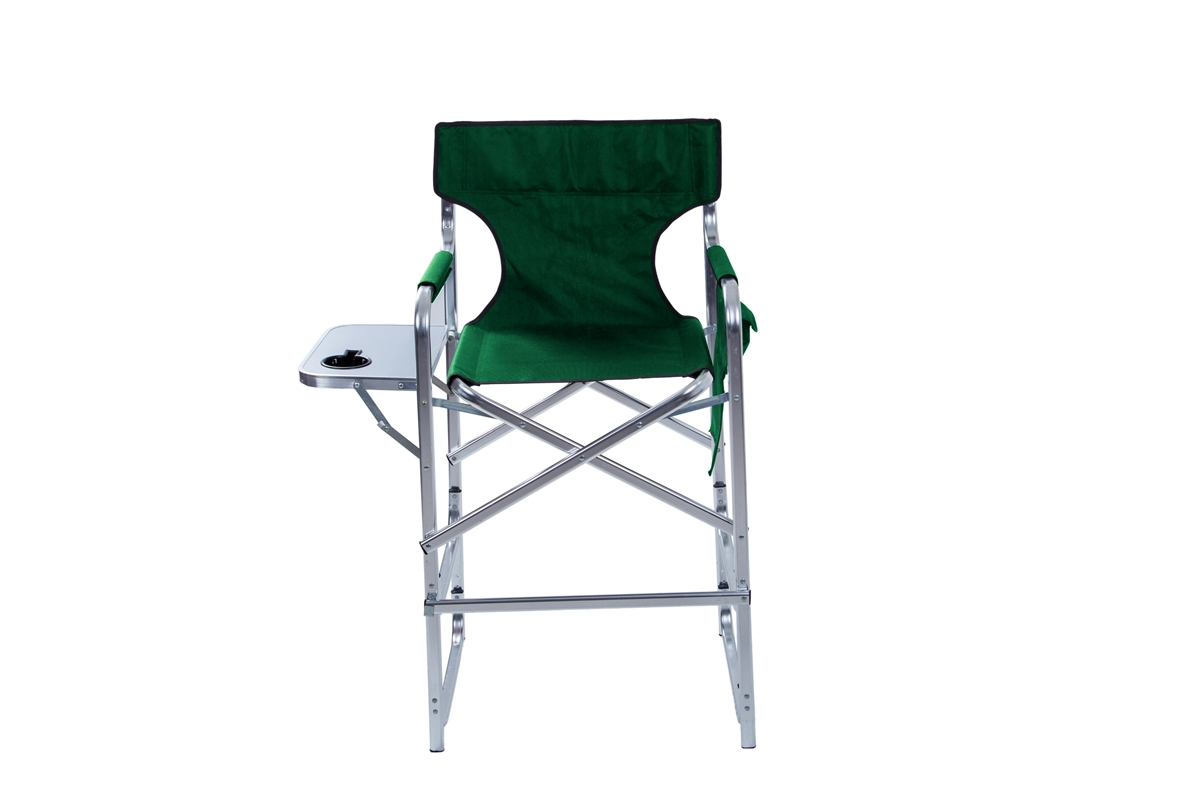 Aluminum Frame Tall Metal Directoru0027s Chair With Side Table By Trademark  Innovations (Green)