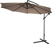 10' Deluxe Polyester Tan Offset Patio Umbrella by Trademark Innovations