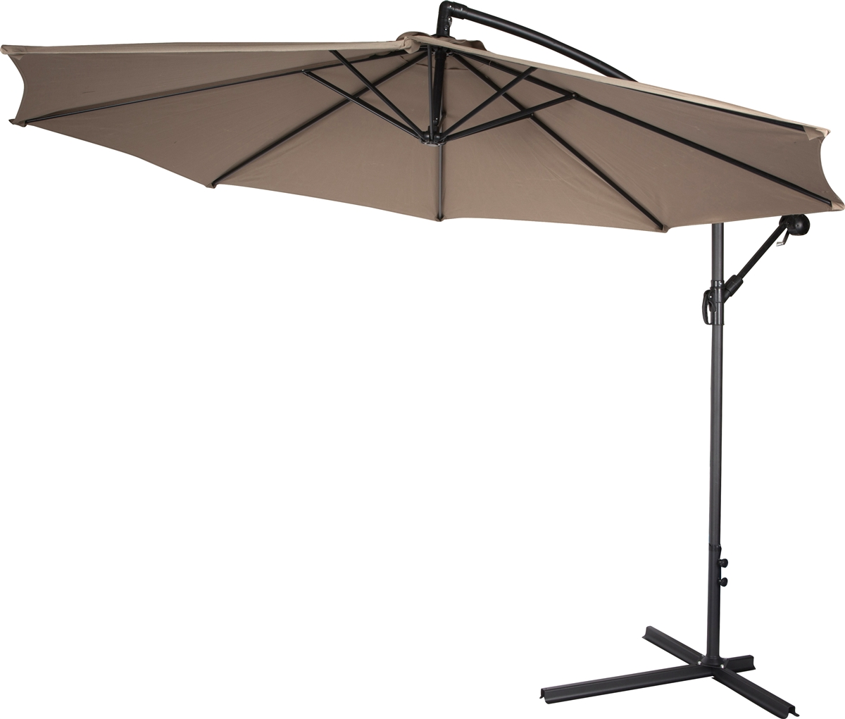 10u0027 Deluxe Polyester Tan Offset Patio Umbrella By Trademark Innovations