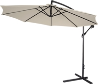 10' Deluxe Polyester Beige Offset Patio Umbrella
