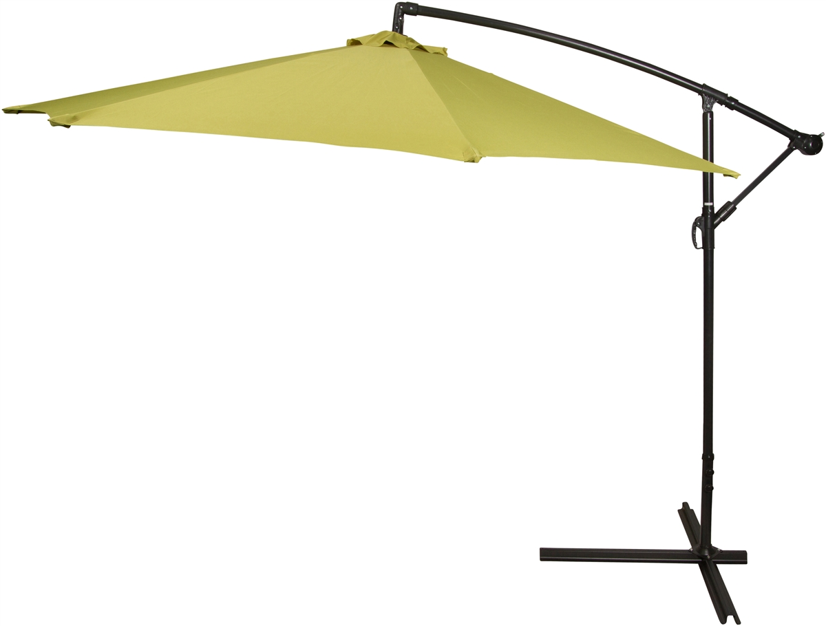 10u0027 Deluxe Polyester Light Green Offset Patio Umbrella By Trademark  Innovations
