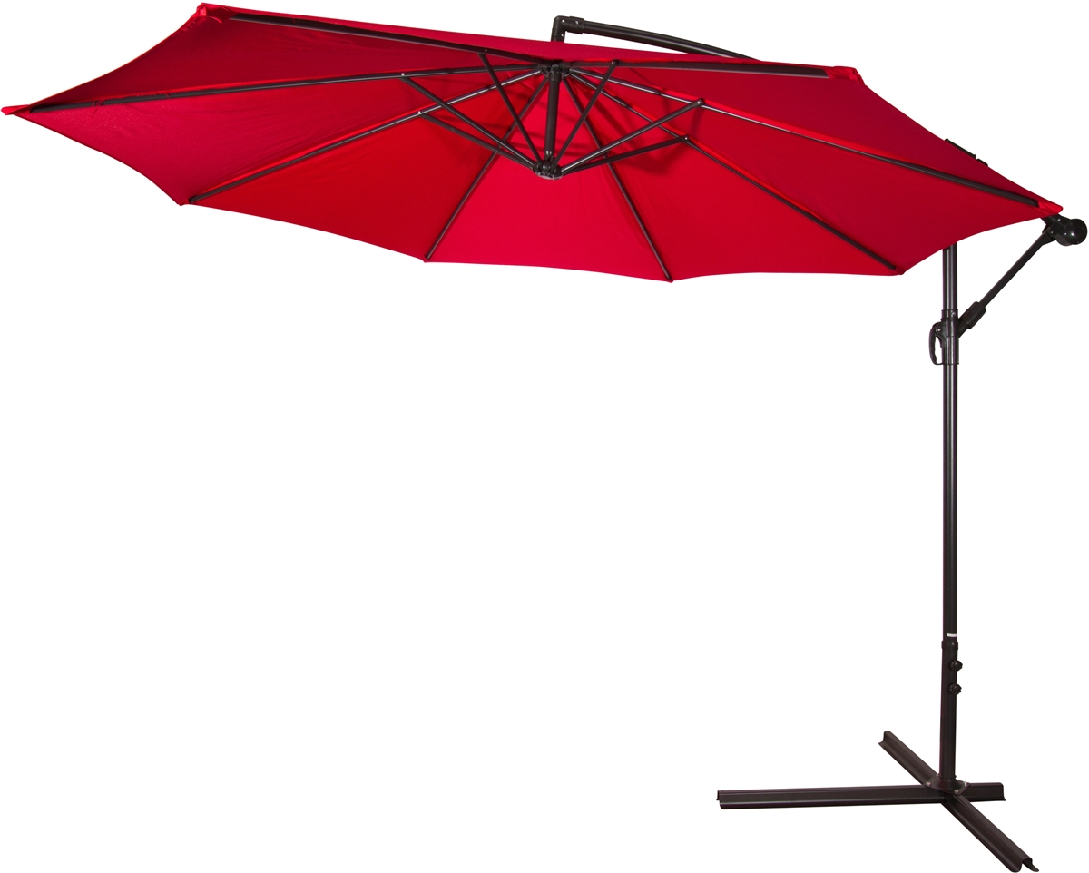 10u0027 Deluxe Polyester Red Offset Patio Umbrella By Trademark Innovations