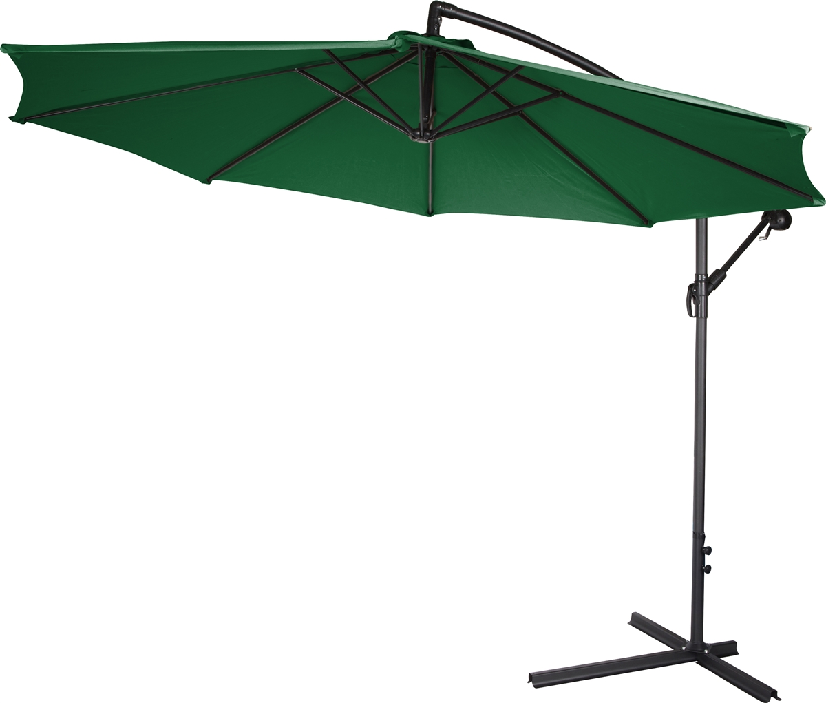Acrylic Cantilever Offset 10ft Patio Umbrella By Trademark Innovations With Colorguard Fabric Green