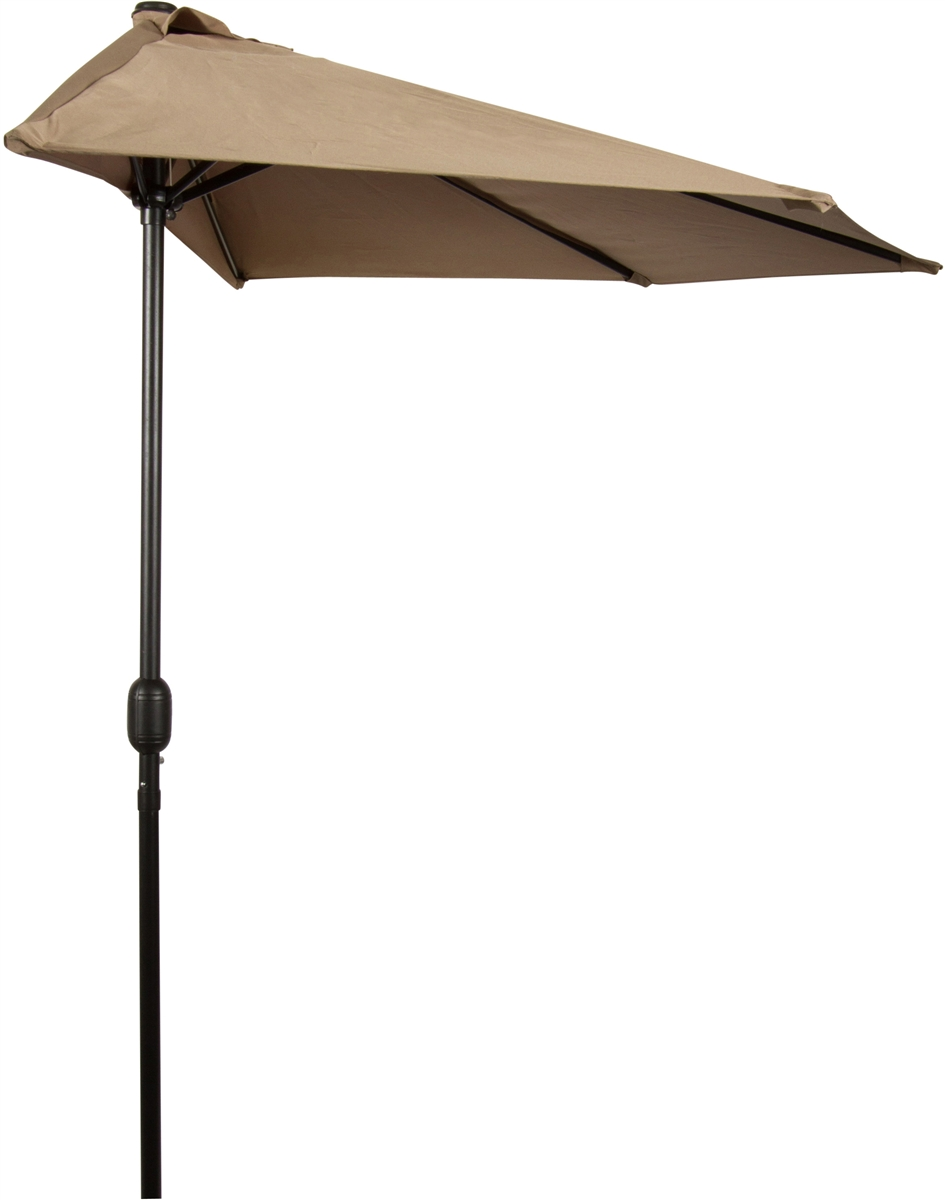 Cantilever Umbrella Tan Offset Pre Lit 11 Ft Patio With Base: 9' Patio Half Umbrella By Trademark Innovations (Tan